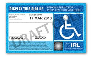 Image of a disabled parking card